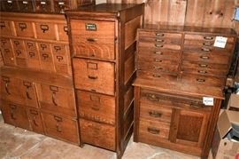 9. Antique Oak Four Drawer File Cabinet