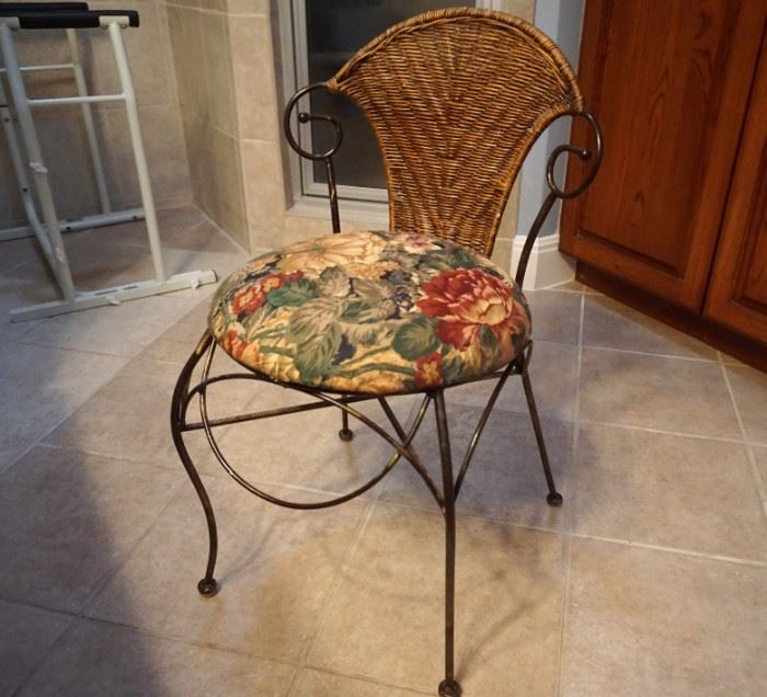 Metal and rattan chair