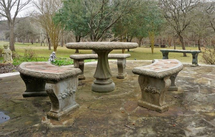 Concrete seating and table