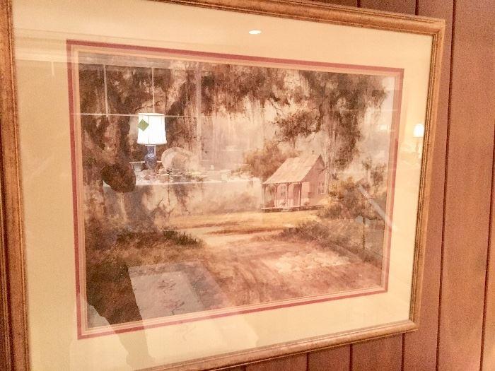 Bill Stracener painting; unusual sofa size of a Cajun Cabin