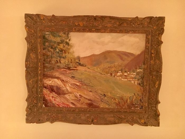 """K. Doyle Ford (American, 1910-1993) """"Mexican Landscape"""" oil on canvas in gorgeous old frame"""