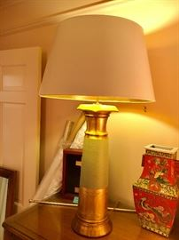 Original signed Burts Cason cast plaster hand finished and gilded large table lamp with shade in perfect condition