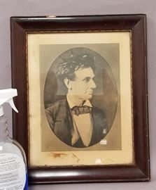Reproduction of rare 1857 Lincoln photo with statement on back