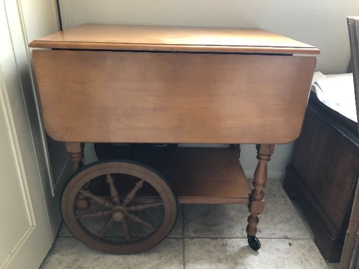 Antique beverage bar cart with tray