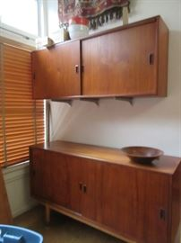 MCM teak buffet and hanging cabinet