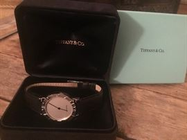 TIFFANY sterling silver watch in original box, new without tags, unused