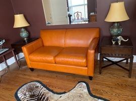 Crate and Barrel leather loveseat