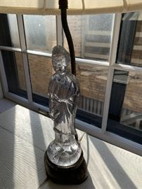 Cambridge glass Geisha lamp