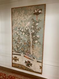 Large hand painted panel with bamboo frame