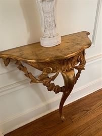 Pair of gilded entryway tables