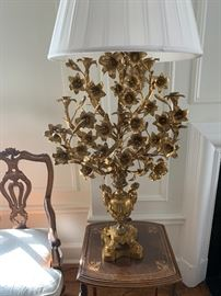 Pair of ornate gilded lamps