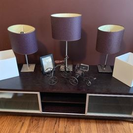 TV stand and lamps