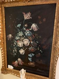 Several floral still life paintings