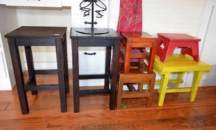 selection of painted stools and stands