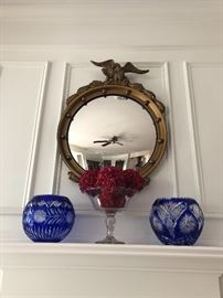 Antique-Federal Eagle, Gold Giltwood, Convex Mirror, Bohemian Cobalt Glass, Decor