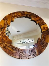 Reclaimed, Ornate-Wood Sliced, Framed Mirror