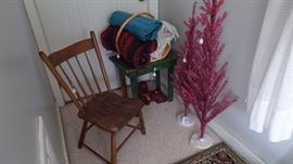 small Chair, small Table with drawer, 2 pink Trees, several Throws