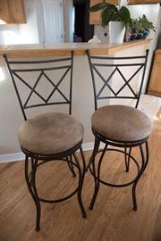 Metal Highback Barstools With Microsuede Seats
