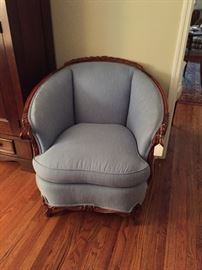 Fabulous newly re-upholstered chair with beautiful wood detail