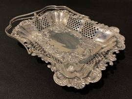 Sterling Pierced Tray with Handle Robert Pringle & Sons