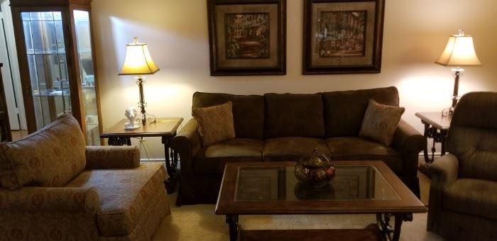 La Z Boy sofa, recliner and 3 piece lamp/coffee table set.