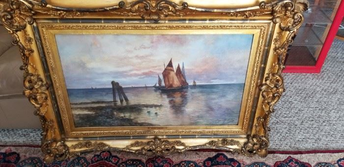 Large oil painting by Hugh (Hugo) Fisher