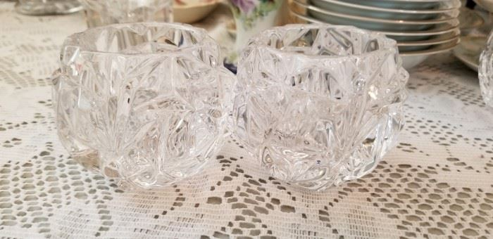 pair of small.glass  candle holders signed tiffany and company