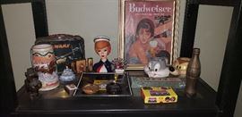 more vintage items old Budweiser add  headvase bugs bunny  and Wiley mugs