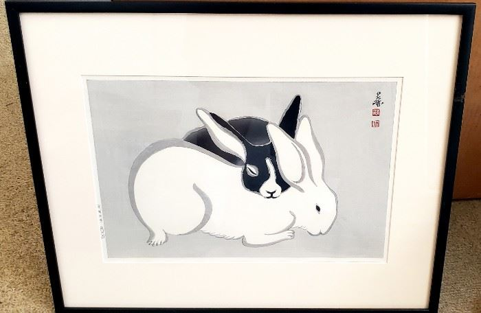 Japanese wood block  rabbits