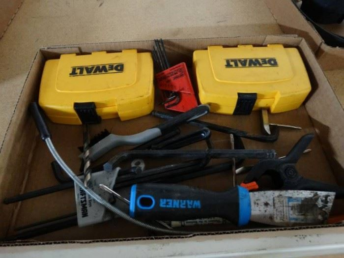 Allen wrenches,puddy knife, dewalt cases, wire b ...