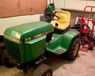 John Deere 318 Garden Lawn Tractor. Also selling the Snow Blower that goes with it!  We will post pictures of that soon.
