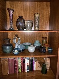 Pottery, books, bookends