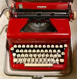1955 Red Royal Quiet Deluxe Portable Manual Typewriter.