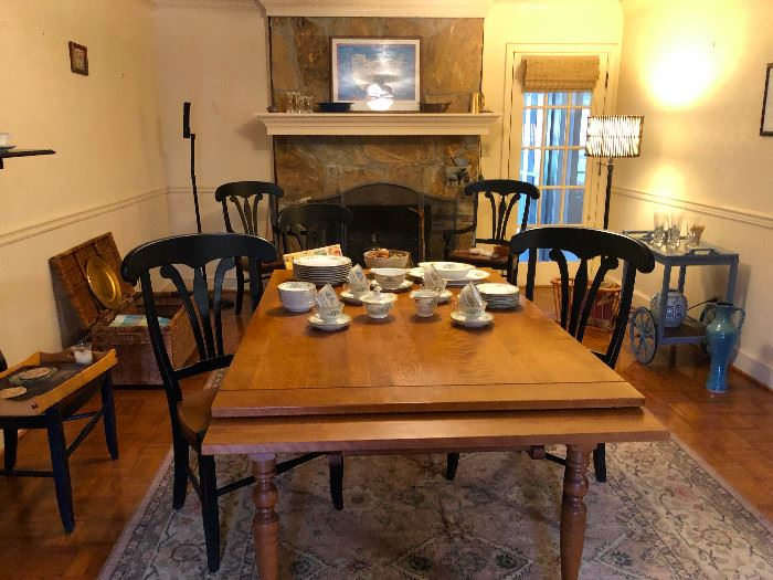 Dining room table with four chairs (but big enough for 6-8 chairs!)