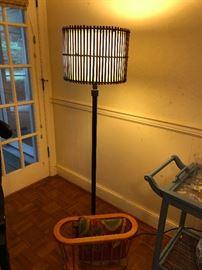 Cool floor lamp and magazine rack.