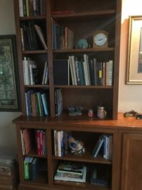 a bookshelf with THINGS!