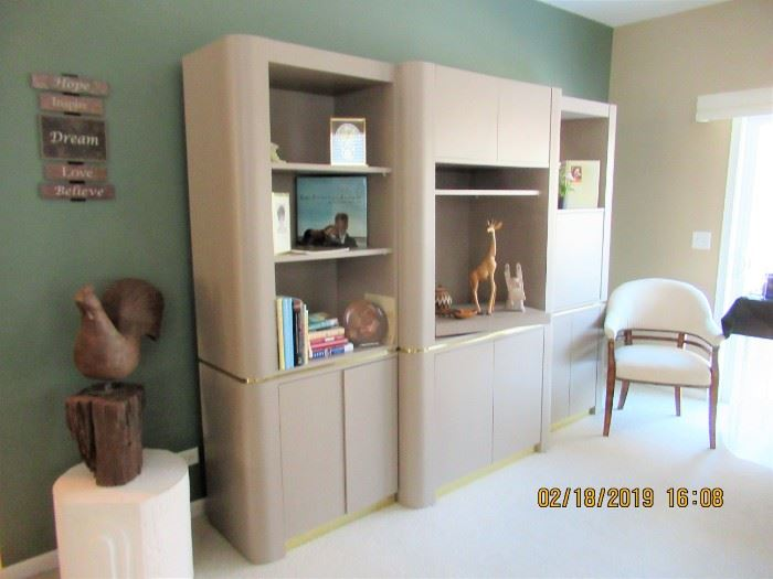 LOVELY DECOR AND SHELVING UNIT, SIDE CHAIRS