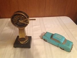 Vintage Transistor Notical Radio (it works!):$90.00.  1954 Cast Aluminum Bank. San Antonio, Texas:  $80.00.