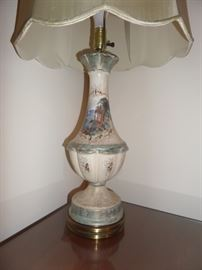 beautiful pair of hand painted lamps