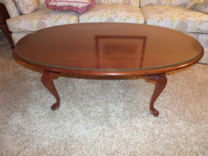 solid cherry coffee table w/ glass top