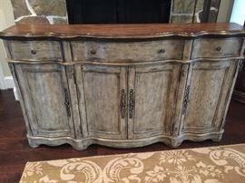 Long credenza is perfect for a narrow  space