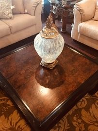 Burled wood top oriental style coffee table