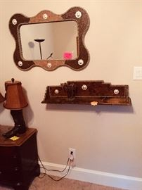 Leather Mirror and shelf