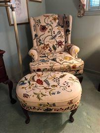 Incredible Henredon Wing Back Chair and  ottoman !!!