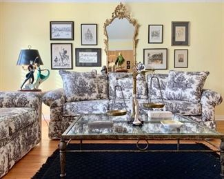 Living Room with Stylish Black and White Toile