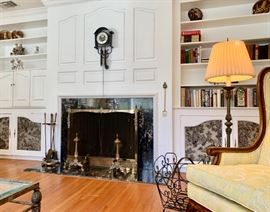 Living Room Fireplace Standing Screen with Fancy Andirons; Provincial Wing Chair
