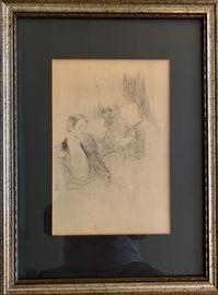 """Lautrec Litho; """"Reading a Letter"""""""