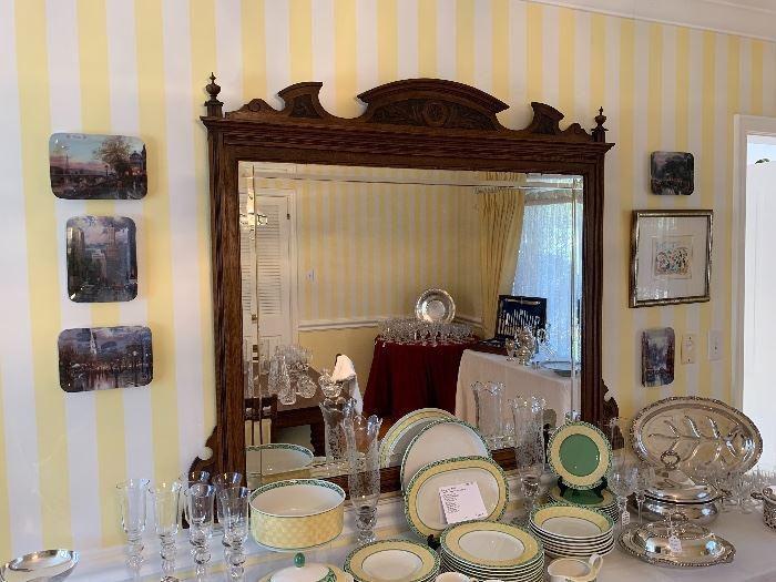 Carved Wood Framed Beveled Mirror