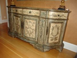 Painted and stenciled sideboard, Seven Seas edition by Hooker Furniture Company sideboard with 4 drawers and 4 cabinet doors