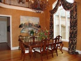 Dining table with 2 leaves, 6 chairs, and beautiful drapes for sale